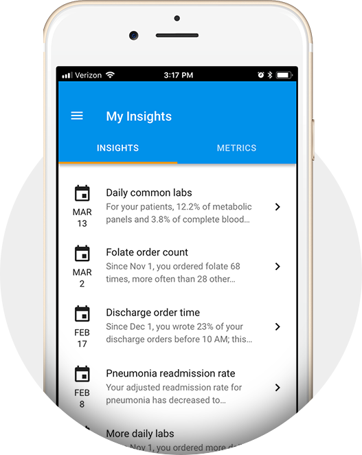 Insights newsfeed gives personalized feedback on clinical variation.